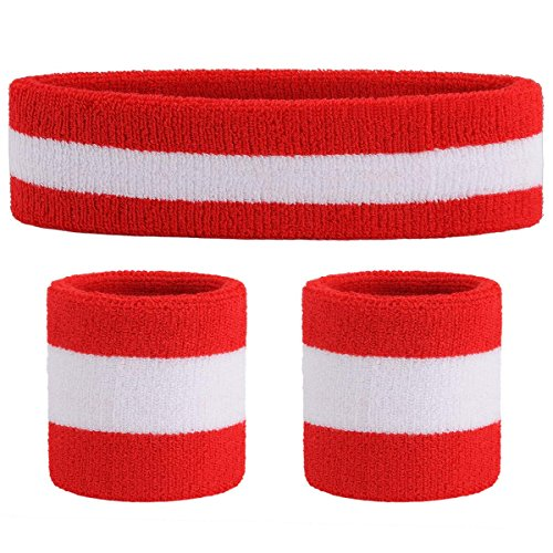 OnUpgo Sweatband Set Sports Headband Wrist Striped Sweatbands Terry Cloth Wristband Athletic Exercise Basketball Wrist Sweatband and Headbands Moisture Wicking Sweat Absorbing Head Band