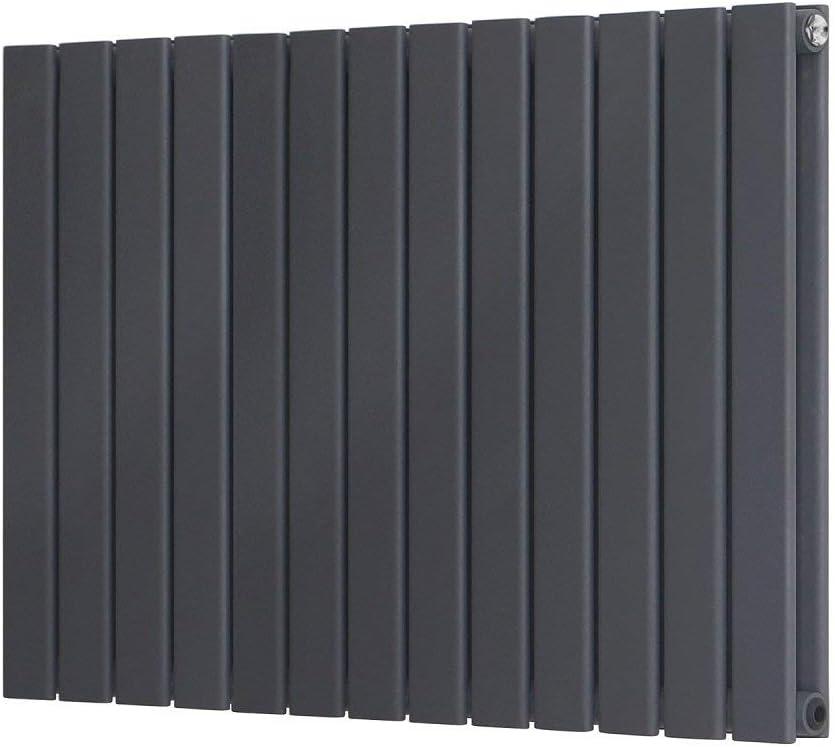 Radiador de diseño doble panel plano 600 x 748 mm tradicional delgada columna antracita horizontal moderno baño cocina sala de estar vestidor Classis calentador de acero al carbono gris