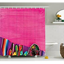 Mexican Decorations Shower Curtain by Ambesonne, View of Folkloric Serape Blanket Charro Hat and Music Instruments , Fabric Bathroom Decor Set with Hooks, 75 Inches Long, Fuchsia Purple