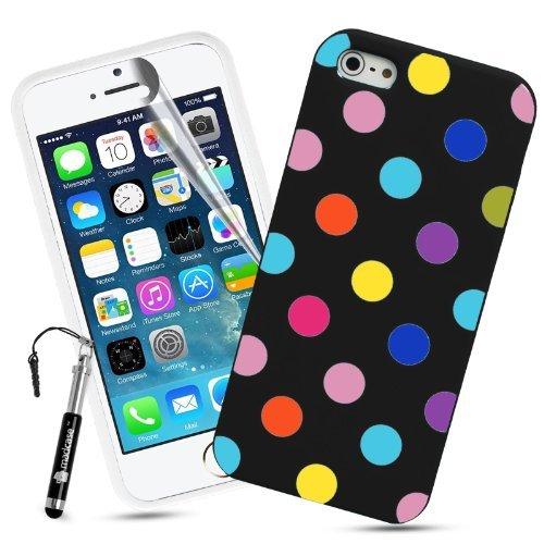 Madcase Apple iPhone SE / 5S / 5 Silikon Schutzhülle Handy Tasche TPU Gel Case Hülle Schale Mit Retro Bunten Punkten - Schwarz