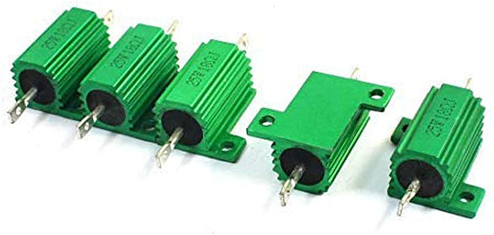 Yohii 5 Pcs Green Heatsink Aluminum Housed 25Watt 18 Ohm Wirewound Resistors