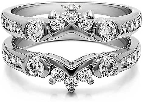 Sterling Silver Half Halo Classic Style Ring Guard with Cubic Zirconia (1 ct. tw.)