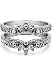 Silver Half Halo Classic Style Ring Guard with CZ (1 ct. twt.)