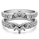 TwoBirch 1 ct. Cubic Zirconia Half Halo Classic Style Ring Guard in Sterling Silver (1 ct. twt.)