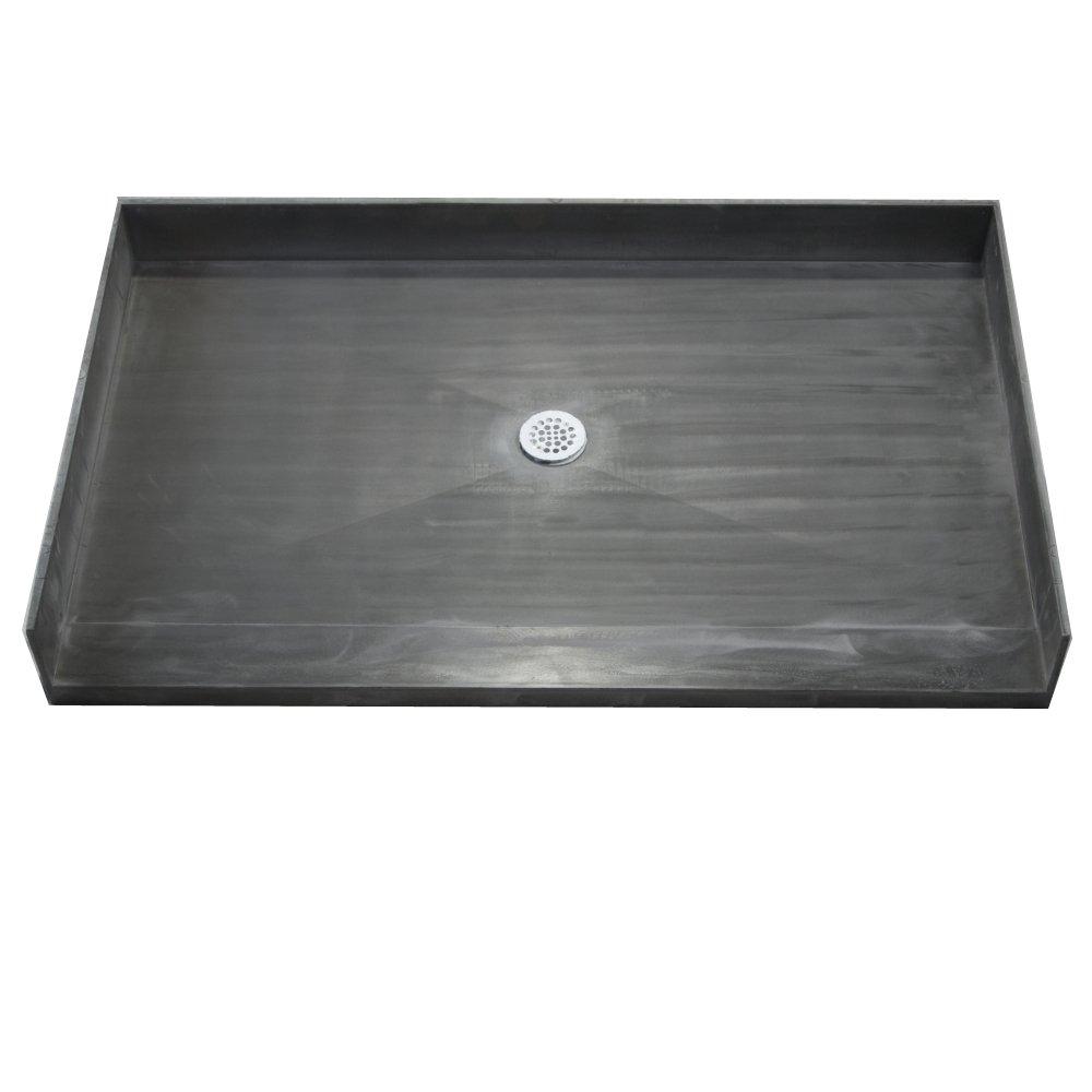 Tile Redi 3848CBF-PVC Barrier Free Shower Pan With Center PVC Drain, 38''D x 48''W