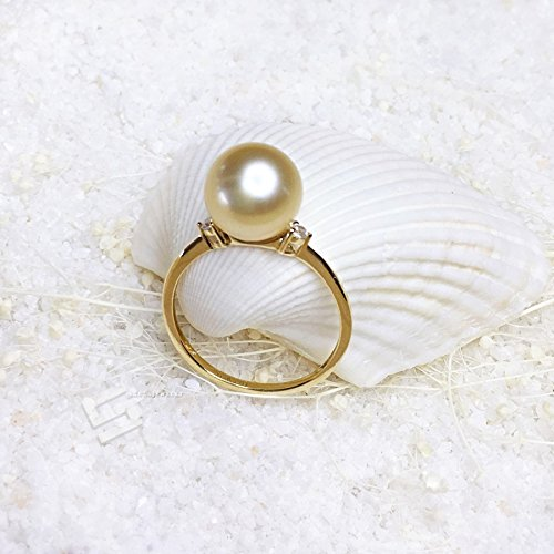 614698907 Amazon.com: Genuine Golden Pearl And Gold Ring, Authentic AAA Grade ...