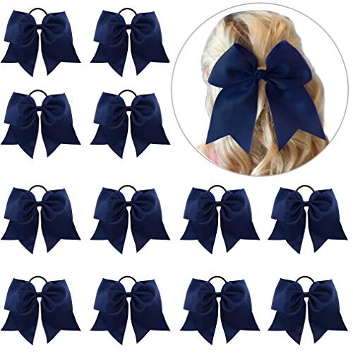 "12 Pcs Large Cheer Bows 8"" Bulk Hair Bow Accessories with Ponytail Holder for Girls High School College Cheerleading"
