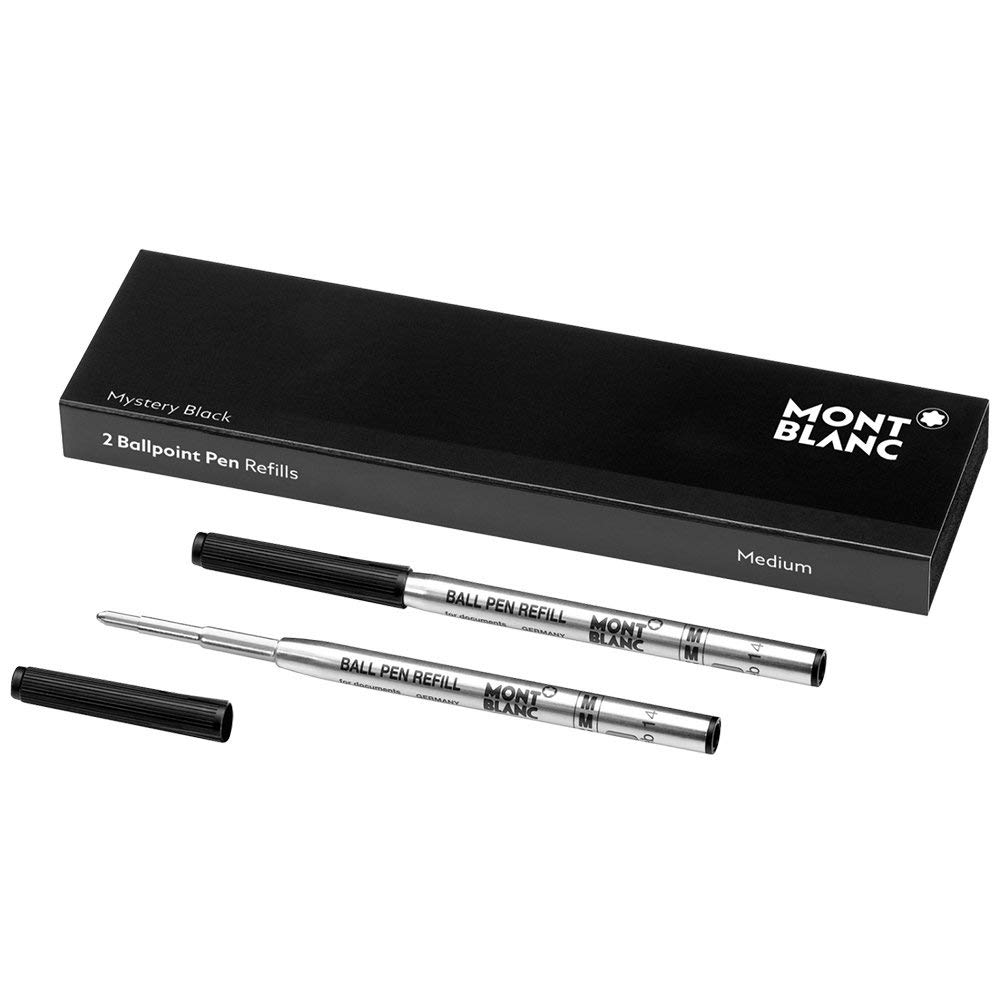 Montblanc Ballpoint Pen Refills (M) Mystery Black 116190 - Refill Cartridges with a Medium Tip for Montblanc Ball Pens - 2 x Black Ballpoint Refills by MONTBLANC