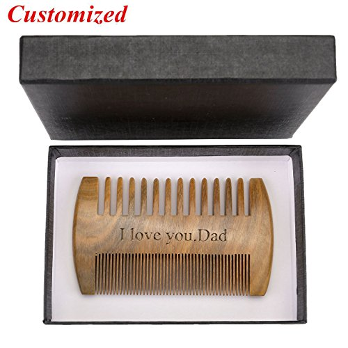 CCbeauty Personalized Custom Engraved- Beard Comb Green Sandalwood Wood Comb Handmade Wooden...