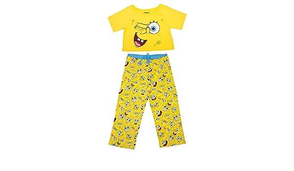 9db6564826aa5 Spongebob Squarepants Faces Crop Top PJ Set - Ladies (Medium) at Amazon  Women s Clothing store