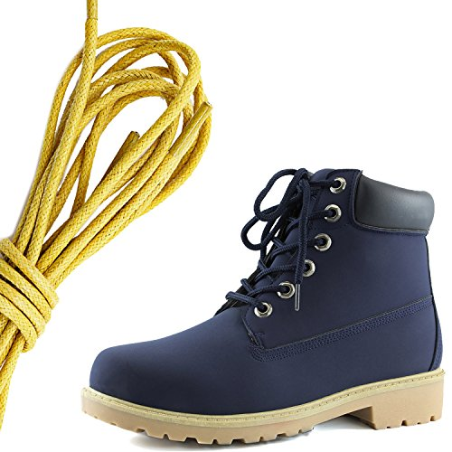DailyShoes Womens Lace-Up Ankle Padded Collar Work Combat Hard Toe Booties, Yellow Navy Black Pu