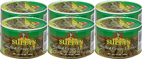 Sultan Stuffed Grape Leaves, 14 oz (Pack of 6) (Grape Sultan Leaves)