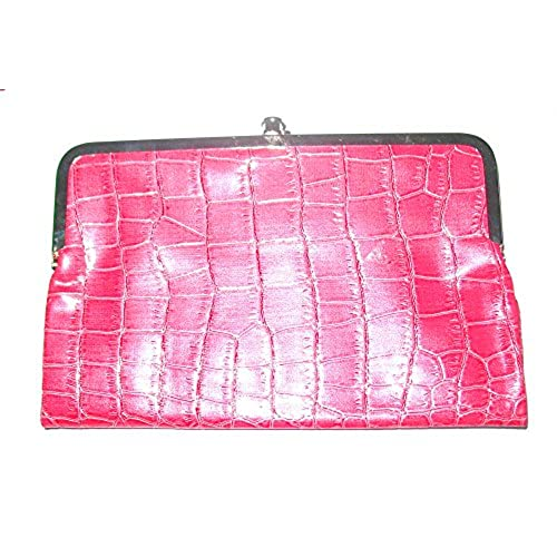 kiss lock double frame wallet glossy crocodile texture pink - Double Frame Clutch Wallet
