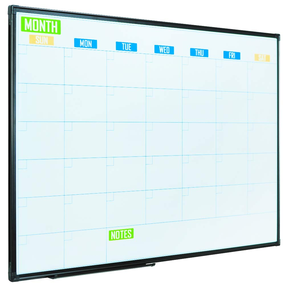 Lockways Framed Dry Erase Calendar Whiteboard - Colorful Magnetic White Board Calendar 36 x 24 Inch, 3 x 2 Monthly Planning Board, Ultra-Slim Black Aluminium Frame for School Home Office by Lockways (Image #1)