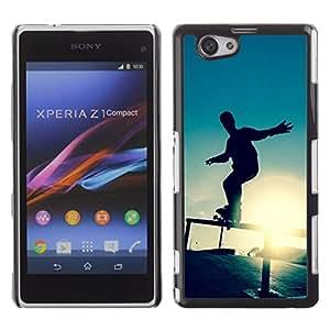 // PHONE CASE GIFT // Duro Estuche protector PC Cáscara Plástico Carcasa Funda Hard Protective Case for Xperia Z1 Compact D5503 / Skate Sunset /