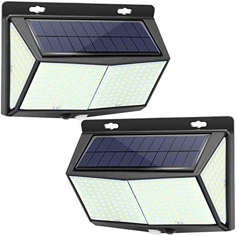 Solar Lights Outdoor 288 LED, Extra-Large, Wall Lights, Exterior Wall Lights, Outdoor Solar Motion Sensor Lights with 3 Lighting Modes, 270 Wide-Angle Lighting, IP65 Waterproof 2 Packs