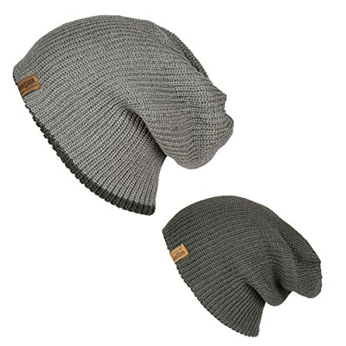 - Folie Co. Grey/Charcoal Reversible Knit Slouchy Beanie Hat - Unisex Knitted Slouch Cap