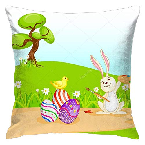 - Feddiy Bunny-Painting-Happy-Easter-Egg 1 Pack Easter Pillow Case Cushion Cover Happy Easter Bunny Rabbit Egg Pillow, Home Decor Sofa Couch 18 x 18 Inch