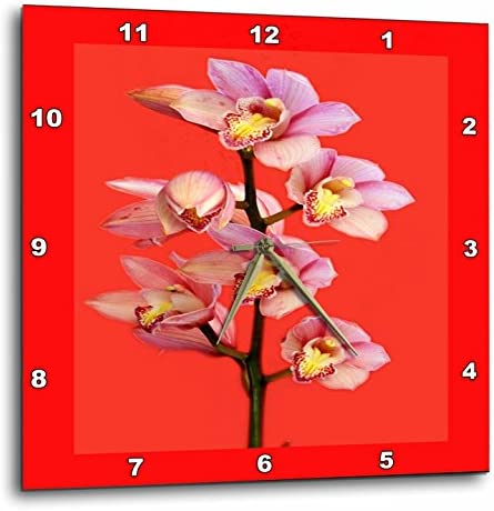 3dRose DPP_80387_2 Oriental Pink Orchids on Red Wall Clock, 13 by 13-Inch