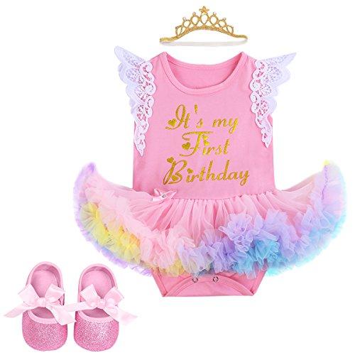 c9c3d1beb Newborn Girls It's My 1st Birthday Cake Smash Outfits Romper Ruffle Tutu  Dress Skirt + Headband + Shoes Infant Toddler Baby Shiny Unicorn Bodysuit  Princess ...