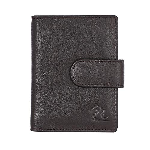 Kara Unisex Sleek Brown Leather Case with Slots for 20 Credit Cards