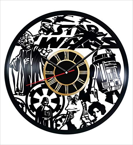 Star Wars Vinyl Wall Clock Vintage Record - Get Unique Home and Office Decor Bedroom Kitchen Kids Living Room - Gifts for Men Women Kids Father Mother - Modern Wall Art Design - Free Personalization