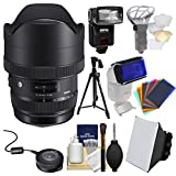 Sigma 12-24mm f/4 ART DG HSM Zoom Lens for Canon EOS DSLR Cameras with USB Dock + Tripod + Flash + Soft Box + Diffuser + Gel Filters Kit