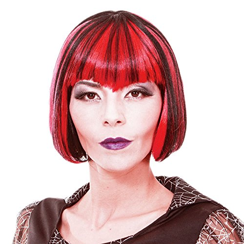 Short Straight Red and Black Cosplay Vampire Wig for Women Synthetic Scary Hair Wig with Bangs for Party -