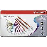 Pastellkreidestift - STABILO CarbOthello - 12er Metalletui - mit 12 verschiedenen Farben