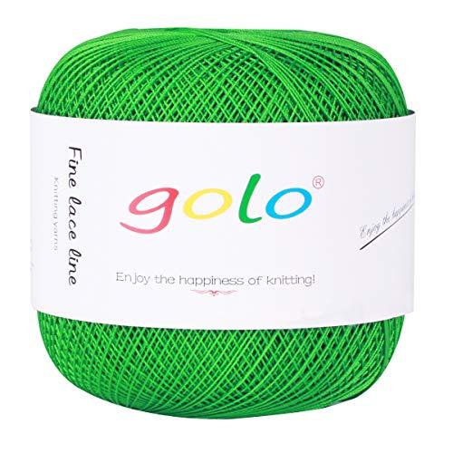 Crochet Thread Yarns for Begingers Size8-100% Contton Yarn for Knitting Crochet DIY Hardanger Cross Sitch Crochet Thread Balls Rainbow Turquoise 31 Colors Avilable (Grass Green)