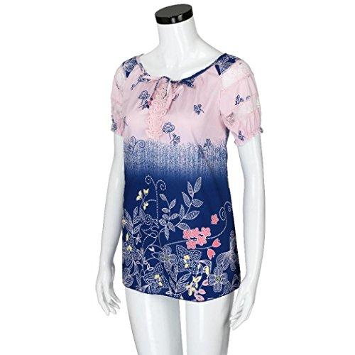 Rose V col Loose manches Imprimé Blouse Shirt ❤️Femmes en en Tefamore T à Dentelle courtes dentelle Tops SaXPRw0q