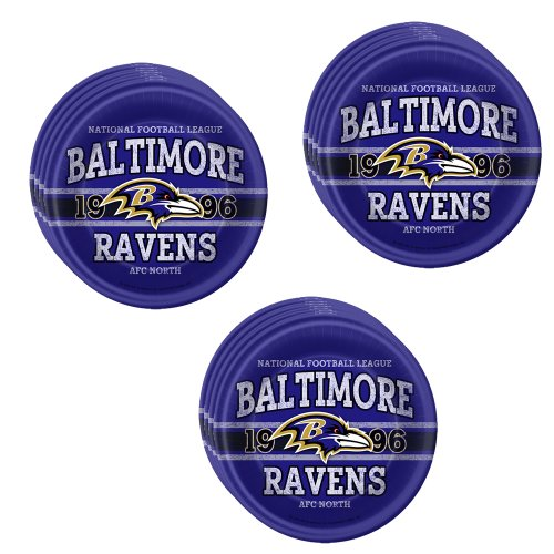 Baltimore Ravens Dinner Plates - NFL Baltimore Ravens Party Dinner Plates - 24 Guests