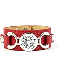 Interchangeable Personalized PU Leather Cuff Bracelet with Monogram Charm. Personalize the Colors and Initials. Can be interchanged with other charms and colors to match your style of the day