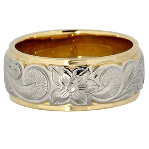 Hawaiian Ring By Austaras - Light Ring for Men - Stainless Steel and 14K Gold Finger Wedding Band Engagement or Wedding Rings Engraved with Hibiscus Flower Hypoallergenic Jewelry. Size 6.5