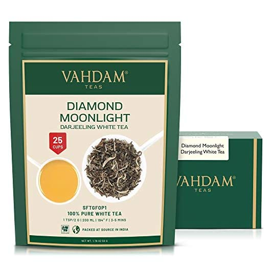 VAHDAM, Diamond Moonlight White Tea Loose Leaf (25 Cups) | HEALTHIEST Tea, 100% Natural White Tea Leaves | Powerful Anti…