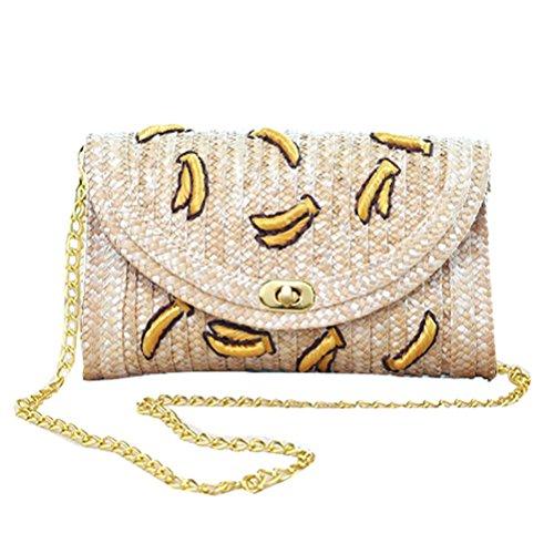 Donalworld Women Embroidery Woven Cherry Cute Banana Summer Beach Messenger Shoulder Mini Bag Beige2
