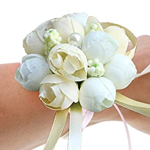 Patiky Wrist Flower, Wrist Corsage Hand Flowers Decor for Wedding Bridal Prom Party Accessories PS05 (Ivory Wrist Flower) 117
