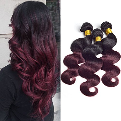Ombre 1b 99j 3 Bundles Mixed Length Burgundy Two Tone Sleek Red Wine Color Brazilian Body Wave Remy Human Hair Extension Weave Weft 18 20 22 inches (Hair Human Extensions Sleek)
