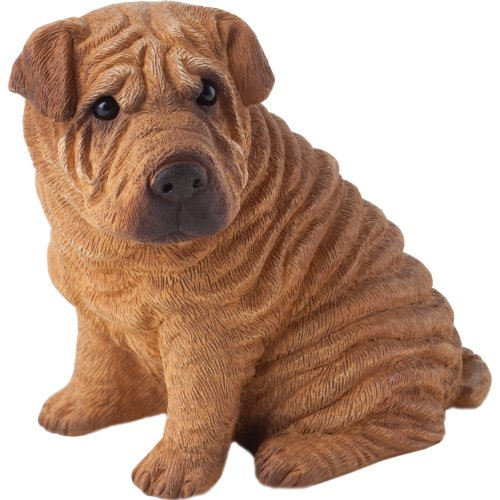 (Sandicast Small Size Red Chinese Shar-Pei Sculpture, Sitting)