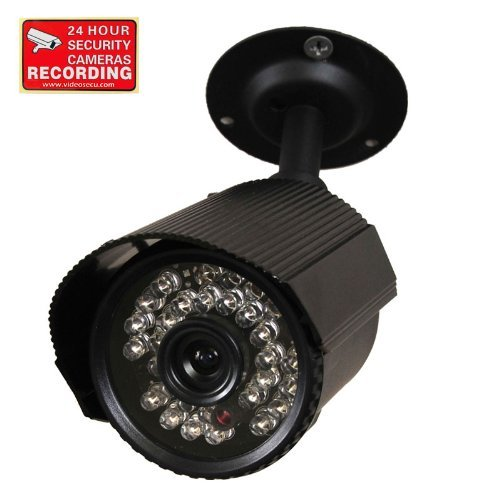 VideoSecu Audio Video Bullet Security Camera Day Night Vision IR Outdoor Built-in Microphone 30 Infrared LEDs CCTV Surveillance Home with Free Warning Sticker A42