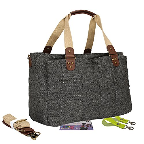 Landuo Women's Baby Diaper Nappy Tote Bag Medium Dark Grey Size M