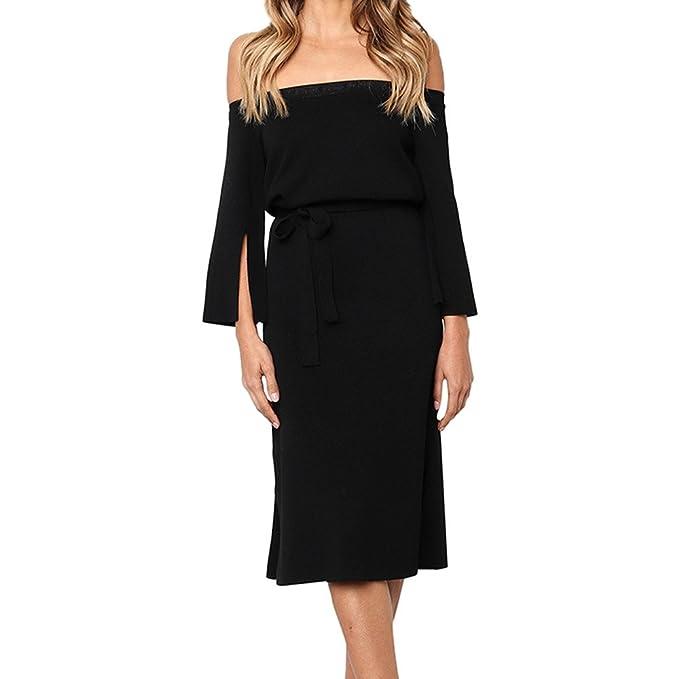b905bd3f7ef7 Fashion Women Off Shoulder Dress Long Sleeve Slit Bow Tie Pencil Midi Dress  Formal Party Gown
