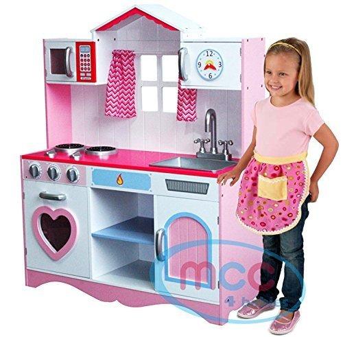 Large Girls Kids Pink Wooden Play Kitchen Children's Role Play Pretend Set...