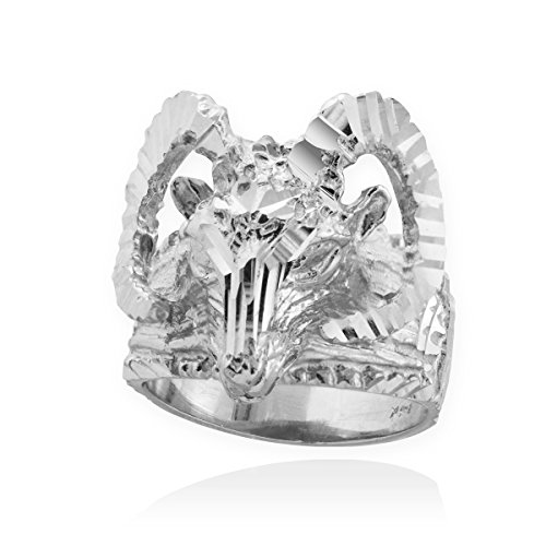 Men's Polished 925 Sterling Silver Aries Zodiac Sign Band Ram Head Ring (Size 9) (Head Ram Ring)