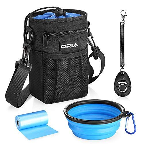 ORIA Dog Treat Bag, Dog Training Pouch, Pet Training Waist Bag with Adjustable Strap & Collapsible Dog Bowl & Storage for Treats, Toys and Training Accessories