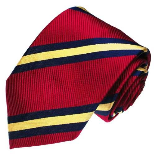 LORENZO CANA - Luxury Italian 100% Silk Tie Blue Red Gold Striped 77049