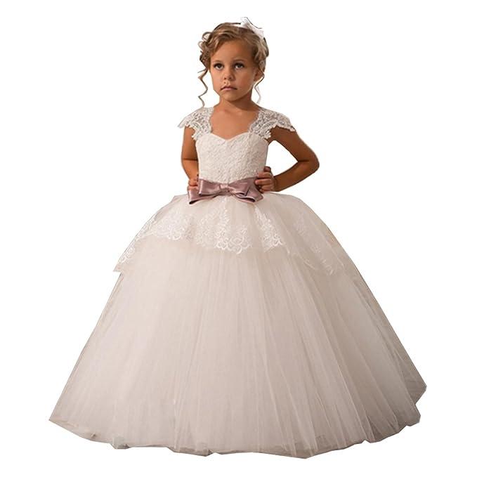 KekeHouse® Cap manga vestido de bola encaje marfil Vestidos de niña tul princesa vestido de los niños pretina con arco: Amazon.es: Ropa y accesorios
