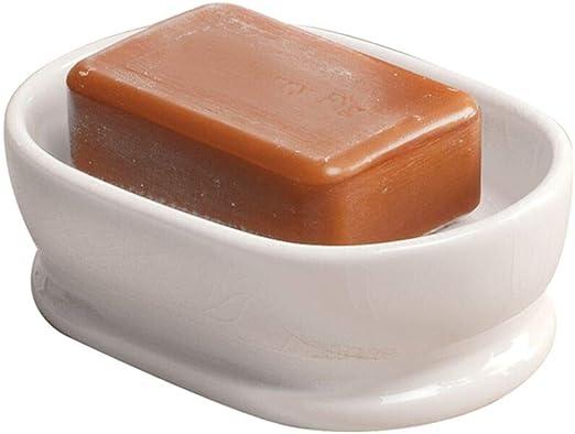 MDesign Decorative Ceramic Bar Soap Dish Tray Bathroom Vanities Countertops,