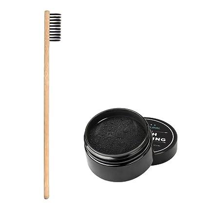 Polvo de carbón que blanquea dientes naturales, negro dientes de carbón activado blanqueador cepillo de