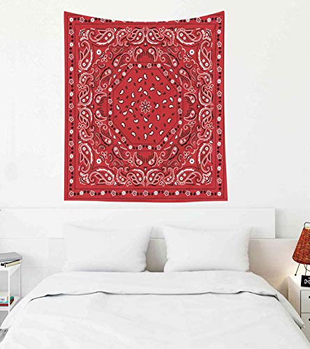 Background Border Red - Pamime Easter Home Decor Tapestry for Red Bandana Print Wall Hanging Tapestries for Dorm Room Bedroom Living Room 50x60 Inches(130x150cm) Bedspread InHouse